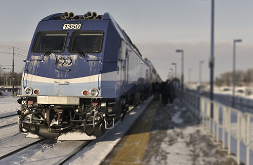 exo train in the snow