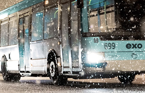 exo bus in the snow